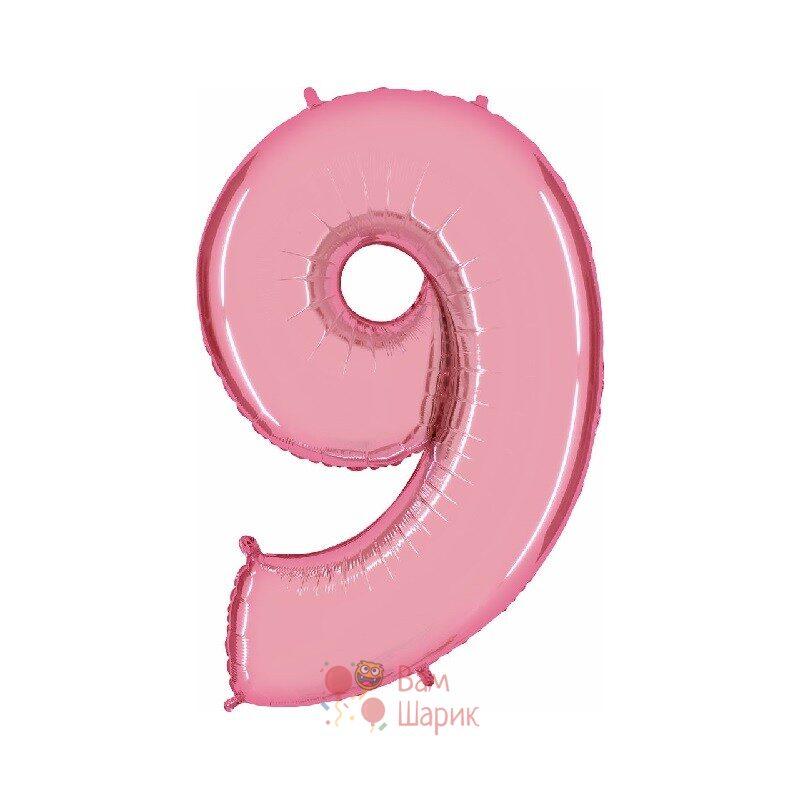 Шар цифра 9 розовая