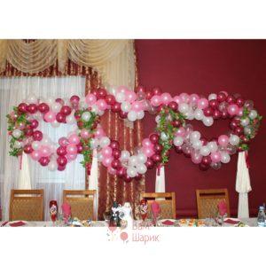 Оформление свадьбы воздушными шарами розовые сердца