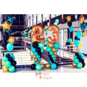 Оформление на 23 февраля гелиевыми шарами