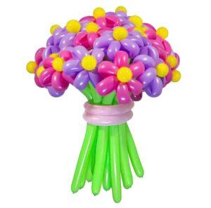 Цветы из шаров - розовые и фиолетовые ромашки - 1 шт.