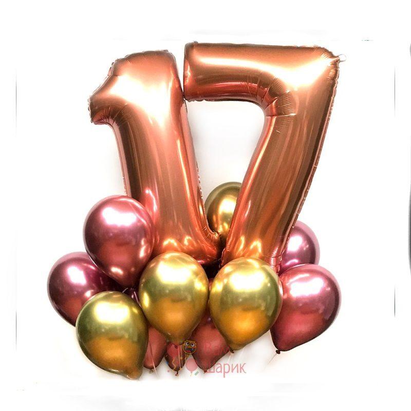 Композиция на день рождения с цифрами розовое золото и хромированными шарами