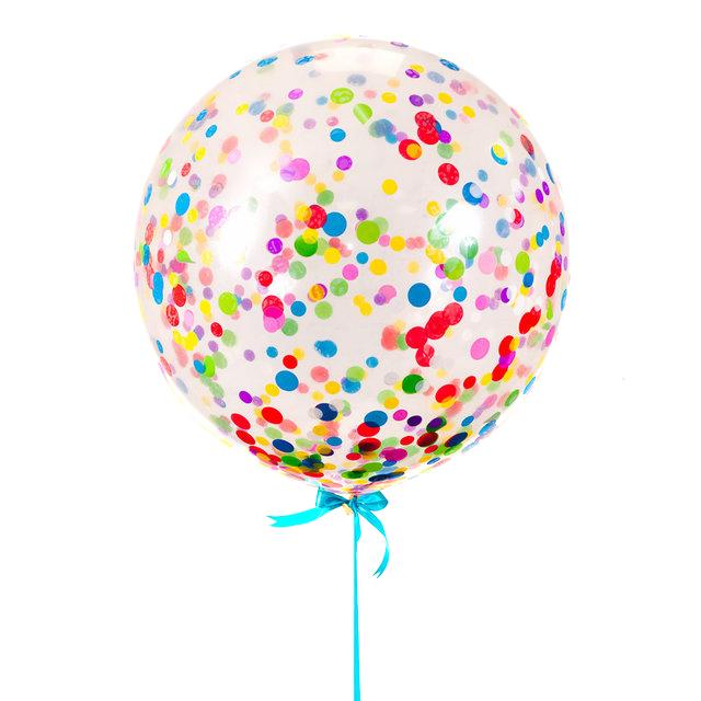 Большой прозрачный шар с разноцветными конфетти