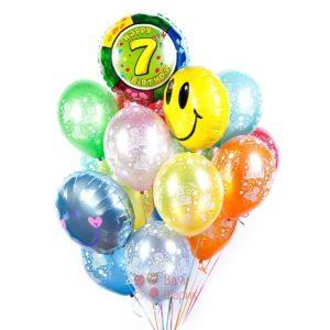 Композиция из гелиевых шаров С Днем Рождения с цифрой и смайлами