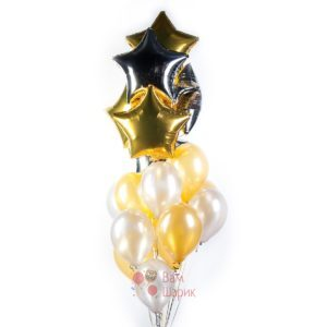 Композиция из серебряных и золотых шаров со звездами