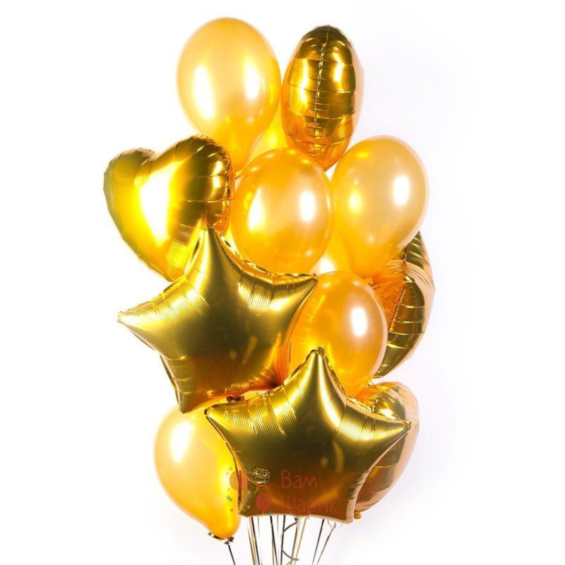 Композиция из золотых шаров с сердцами и звездами