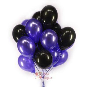 Облако черных и фиолетовых шаров металлик