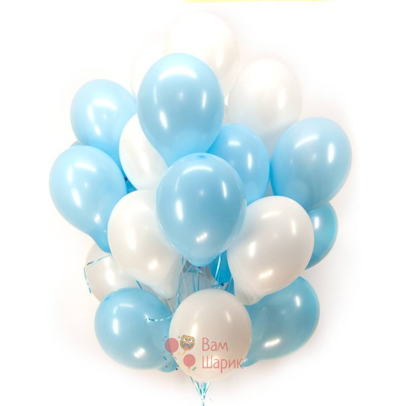 Воздушные шары бело-голубые