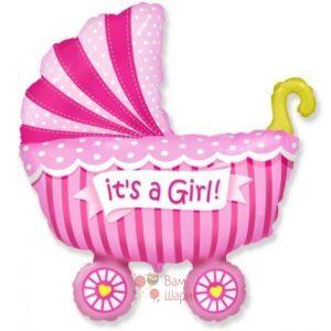 Фольгированная фигура коляска для девочки
