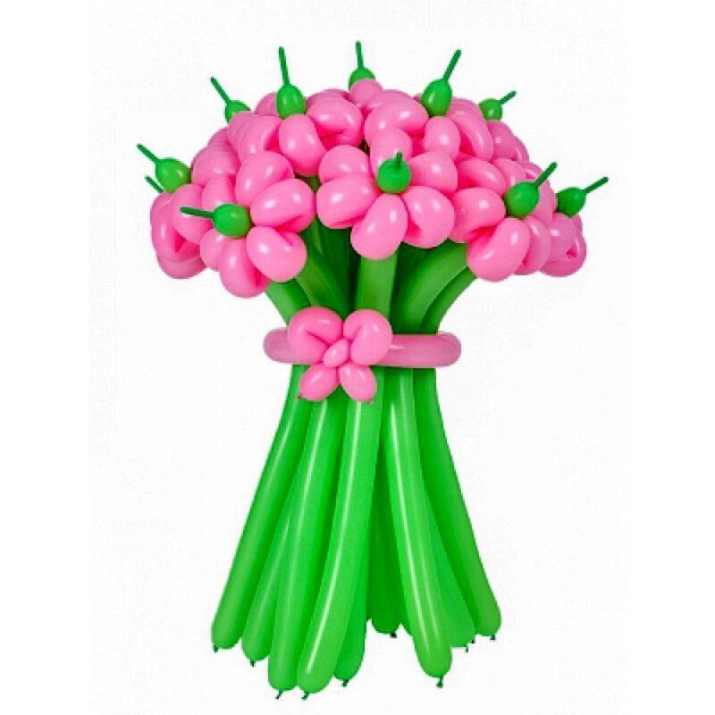 Цветы из шаров - ромашки розовые с зеленым стеблем - 1 шт.