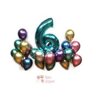 Композиция на день рождения из хромированных шаров с цифрой