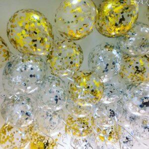 Прозрачные шары с серебряными и золотыми конфетти под потолок
