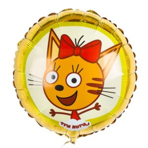 Фольгированный круг Карамелька три кота