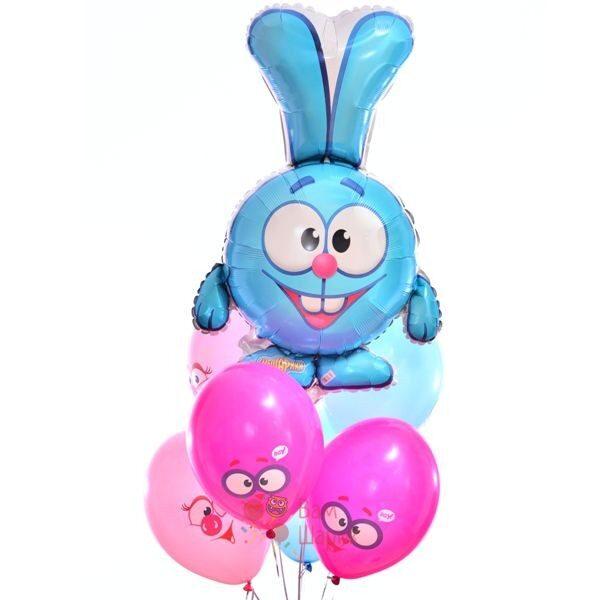 Композиция из воздушных шаров смешары с Крошем