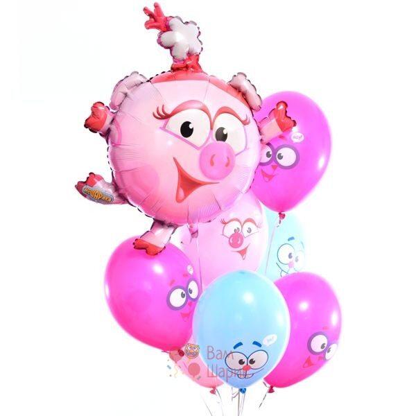 Композиция из воздушных шаров смешары с Нюшей