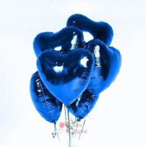 Фольгированные синие сердца
