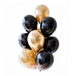 Облако черных и золотых хромированных шаров