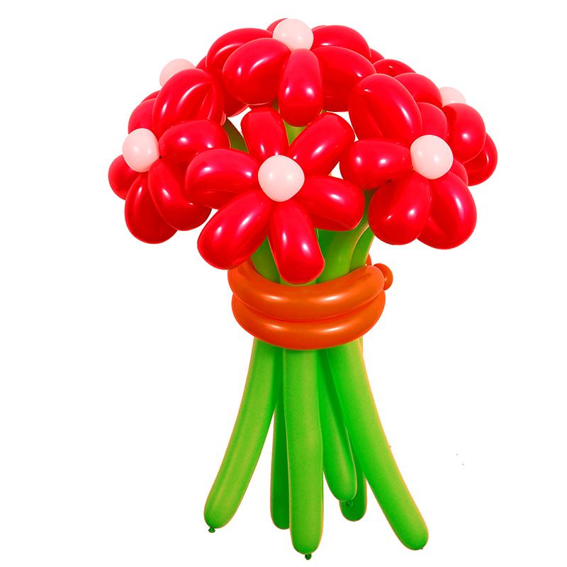 Цветы из шаров - красные ромашки - 1 шт