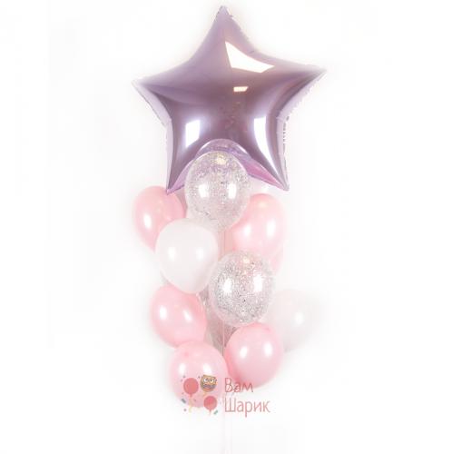 Композиция из бело-розовых, прозрачных шаров с блестками и большой звездой