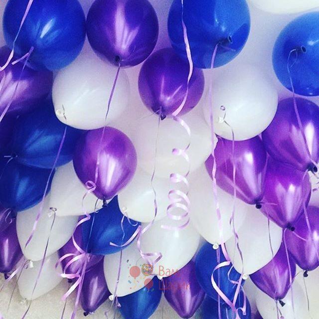 Шары под потолок белые, синие и фиолетовые металлик