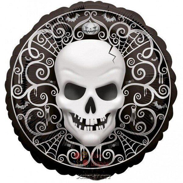 Фольгированный шар Happy Halloween с черепом