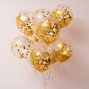 Прозрачные шары с золотыми конфетти