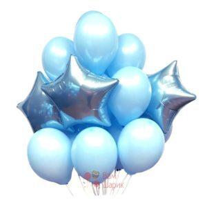 Композиция из голубых шаров и голубых звезд