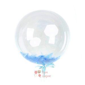 Кристальный шар Bubbles с голубыми перьями