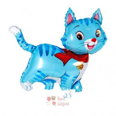 Фольгированная фигура кошечка голубая