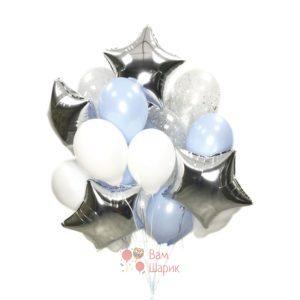 Композиция из бело голубых и прозрачных шаров со звездами