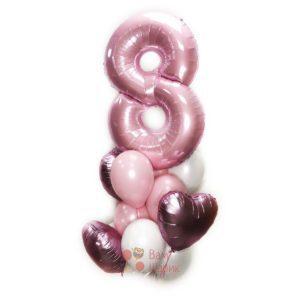 Композиция из бело-розовых шаров и сатиновых розовых сердец с цифрой