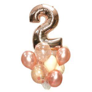 Воздушные шары на День рождения с цифрой розовое золото