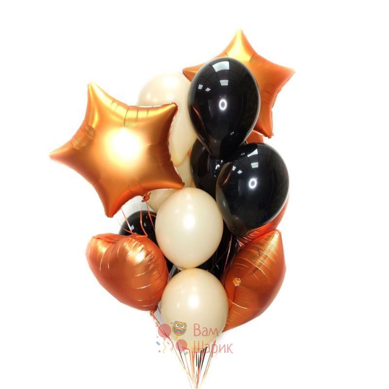 Композиция из кремовых и черных шаров с сердцами и звездами