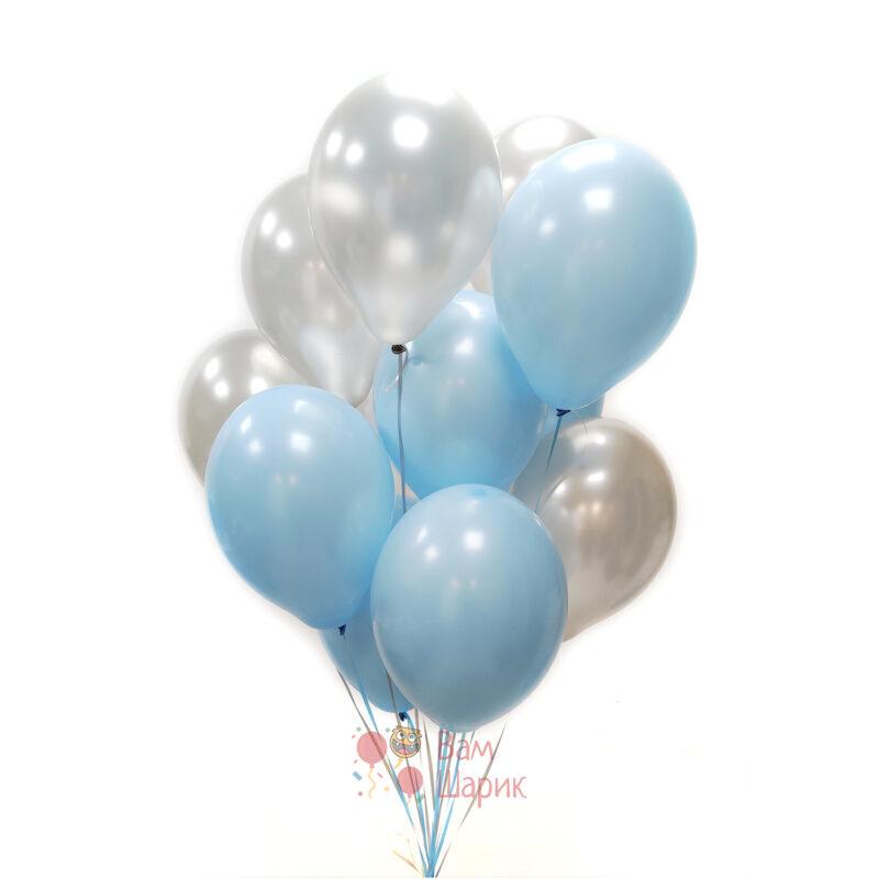 Облако голубых и серебряных шаров