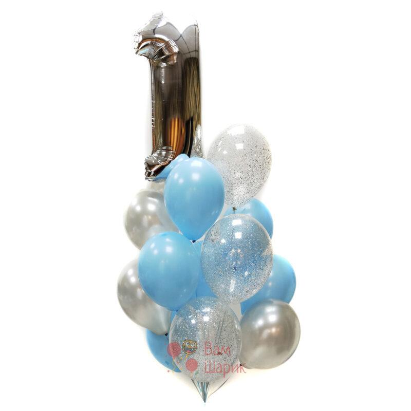 Композиция из серебряных, голубых и прозрачных шаров с серебряными блестками с цифрой