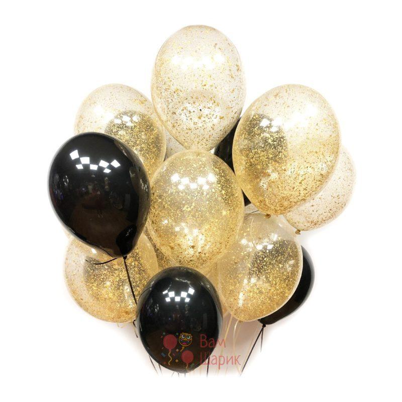 Воздушные шары черные и прозрачные с золотым блестками