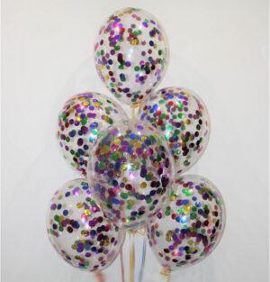 Прозрачные шары с разноцветными конфетти