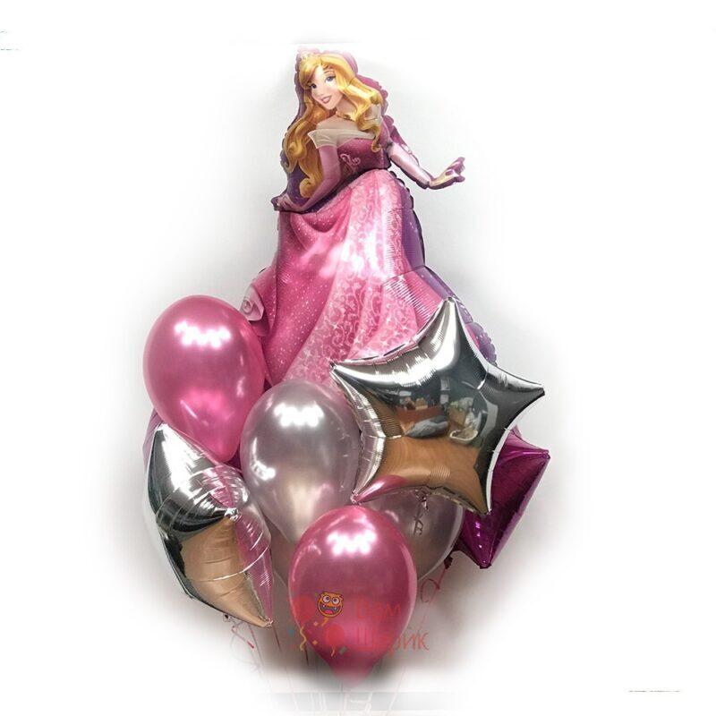 Композиция из серебряных, розовых шаров со звездами и спящей красавицей
