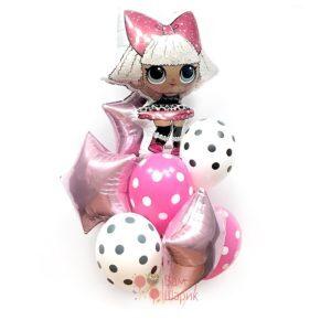 Композиция из шаров с куклой LOL и розовыми звездами