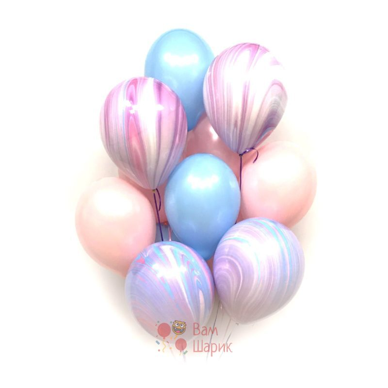 Воздушные шары розовые, голубые и сиреневыми агатами