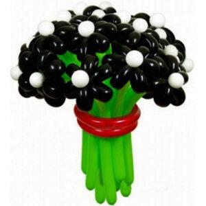 Цветы из шаров - ромашки черные - 1 шт.