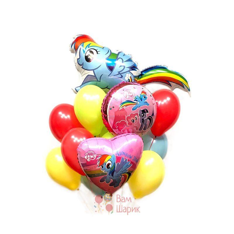 Композиция на день рождения из шаров My little pony c Радугой Дэш