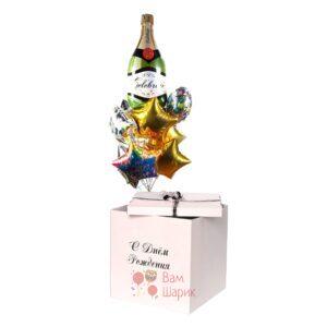 шары День Рождения с шампанским и звездами в коробке