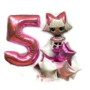 Композиция из воздушных шаров с куклой LOL, цифрой и звездами