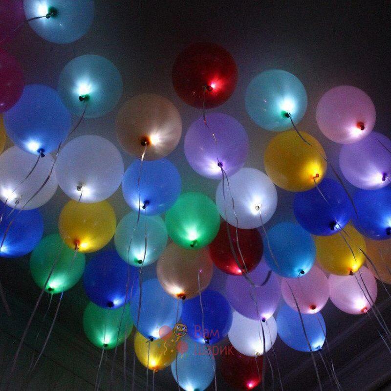 Светящиеся разноцветные шары с белыми светодиодами под потолок