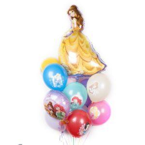 Композиция из разноцветных шаров с Принцессами