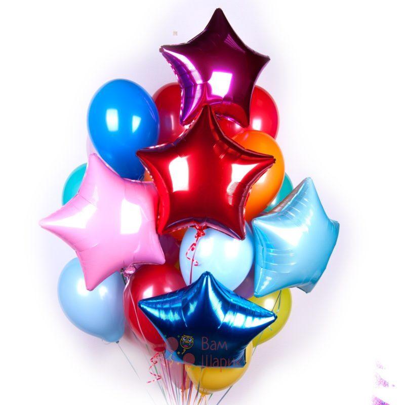 Композиция из воздушных разноцветных шаров со звездами