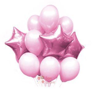 Композиция из розовых шаров и розовых звезд