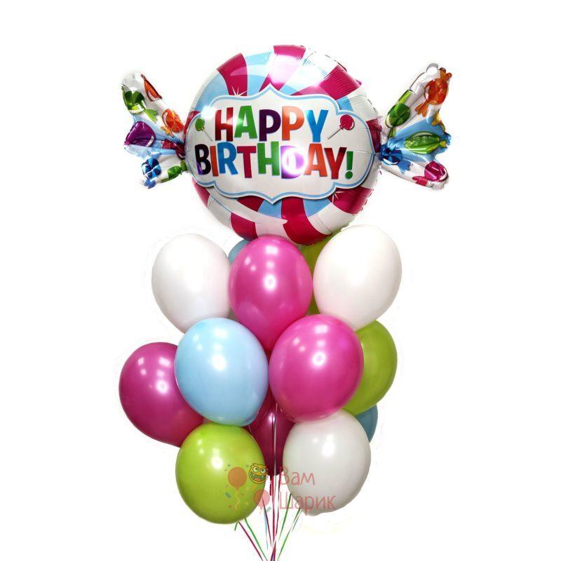 Облако воздушных шаров с гелием с конфетой на день рождения