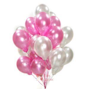 Облако розовых и серебряных шаров металлик