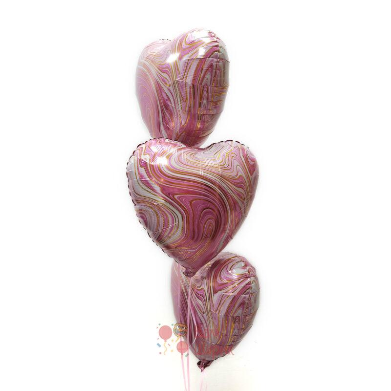 Сердца розовые агаты